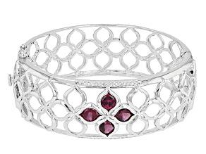 Purple Rhodolite Sterling Silver Bangle Bracelet 6.18ctw