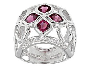 Raspberry color Rhodolite Sterling Silver Ring 3.95ctw