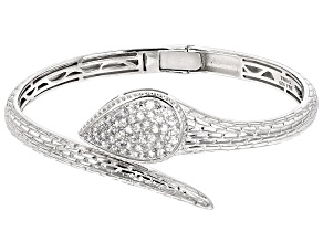White Zircon Sterling Silver Bangle Bracelet 1.99ctw