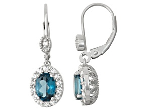 Sterling Silver London Blue Topaz, Synthetic Sapphire And Diamond Earrings