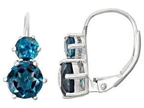 Sterling Silver London Blue Topaz 2-Stone Leverback Earrings