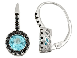 Sterling Silver Swiss Blue Topaz And Black Spinel Halo Leverback Earrings