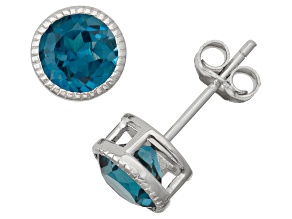 Sterling Silver 6mm Bezel-Set London Blue Topaz Stud Earrings