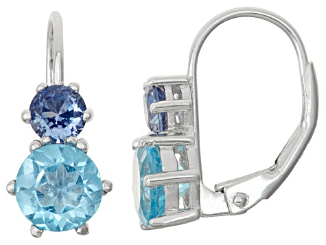 Sterling Silver Synthetic Shire And Swiss Blue Topaz Leverback Earrings