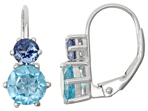 Sterling Silver Synthetic Sapphire And Swiss Blue Topaz Leverback Earrings
