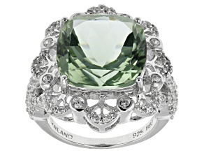 Green Prasiolite Sterling Silver Ring 9.30ctw