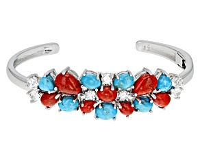 Blue Turquoise Sterling Silver Cuff Bracelet 3.42ctw