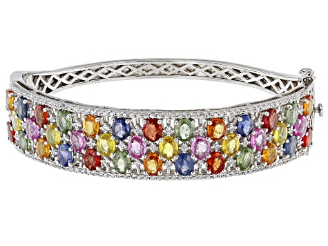 Multi-sapphire sterling silver hinged bangle bracelet 16.03ctw