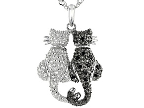 Black Spinel Rhodium Over Sterling Silver Cats Pendant With Chain .18ctw