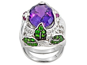 Purple African Amethyst Sterling Silver Ring 10.14ctw.