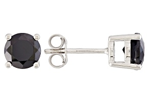 Black Spinel Sterling Silver Stud Earrings 2.20ctw