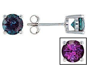 Color Change Lab Created Alexandrite Rhodium Over Sterling Silver Stud Earrings 1.62ctw
