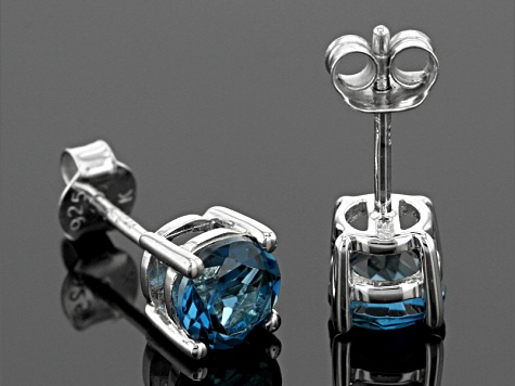 London Blue Topaz Rhodium Over Sterling Silver Stud Earrings 1.86ctw
