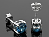 London Blue Topaz Sterling Silver Stud Earrings 1.86ctw