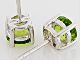 Green Peridot Sterling Silver Stud Earrings 2.00ctw