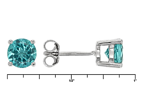 Paraiba Color Apatite Sterling Silver Stud Earrings 1.50ctw