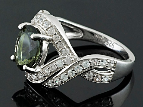Green Moldavite And White Zircon Sterling Silver Ring 2.22ctw