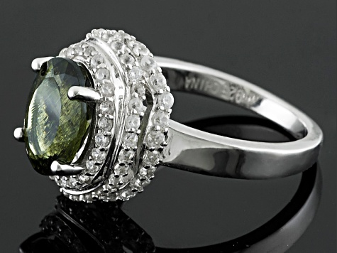 Green Moldavite And White Zircon Sterling Silver Ring 2.39ctw