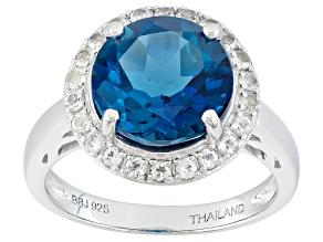 London Blue Topaz Sterling Silver Ring 4.77ctw