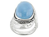 Blue Oregon Opal Sterling Silver Ring
