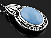 Blue Oregon opal sterling silver pendant with chain