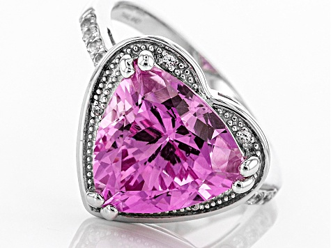 Pink Lab Created Sapphire Sterling Silver Heart Shape Ring 6.95ctw