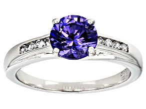 Blue Lab Created Yag And White Zircon Sterling Silver Ring 1.72ctw