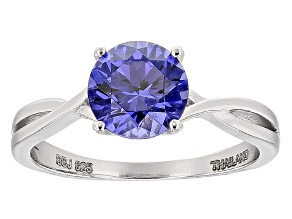 Blue Lab Created Tanzanite Color Yag Sterling Silver Solitaire Ring 2.33ct