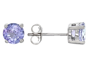 Blue Tanzanite Sterling Silver Stud Earrings 1.51ctw
