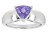 Blue Tanzanite Sterling Silver Solitaire Ring