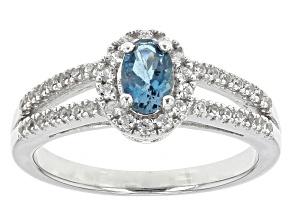 Blue Brazilian Aquamarine Sterling Silver Ring .68ctw