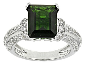 Green Chrome Diopside Sterling Silver Ring 4.67ctw
