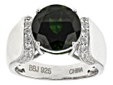 Green Chrome Diopside Sterling Silver Ring 3.95ctw