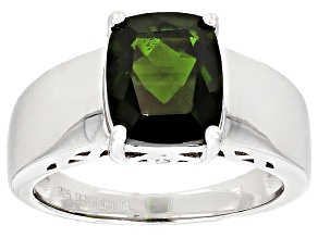 Green Chrome Diopside Sterling Silver Ring 2.56ctw