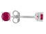 Mahaleo Ruby Sterling Silver Stud Earrings .54ctw