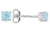 Sky Blue Topaz Rhodium Over Sterling Silver Stud Earrings .60ctw