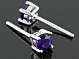 Purple African Amethyst Sterling Silver Stud Earrings .52ctw