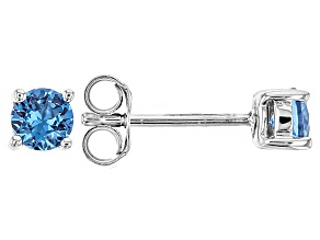 Blue Lab Created Spinel Sterling Silver Stud Earrings .54ctw