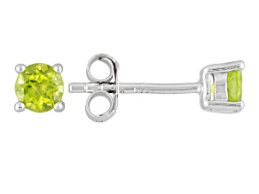 Green Peridot Sterling Silver Stud Earrings .60ctw