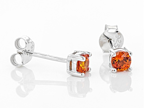 Orange Lab Created Padparadscha Sapphire Rhodium Over Sterling Silver Stud Earrings .64ctw