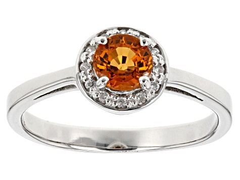 Orange Mandarin Garnet Sterling Silver Ring .63ctw