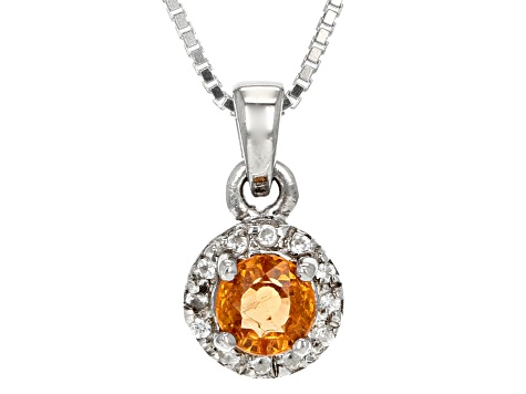 Orange Spessartite Sterling Silver Pendant With Chain .63ctw