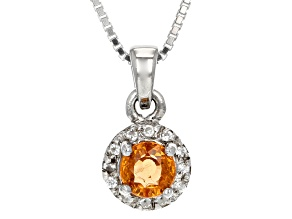 Orange Mandarin Garnet Sterling Silver Pendant With Chain .63ctw
