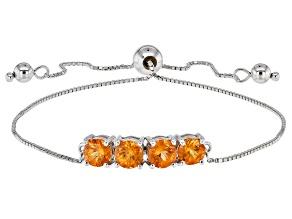 Orange Spessartite Sterling Silver Bolo Bracelet 2.04ctw