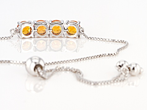 Orange Spessartite Sterling Silver Bolo Bracelet 2.04ctw
