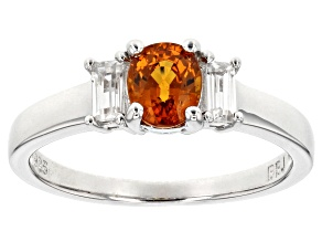 Orange Mandarin Garnet Sterling Silver Ring 1.10ctw