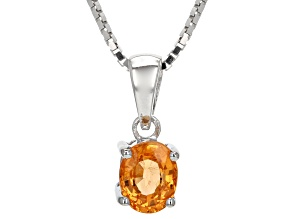 Orange Spessartite Sterling Silver Pendant With Chain .80ct