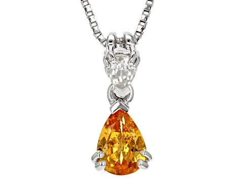 Orange Spessartite Garnet Sterling Silver Pendant with chain .80ctw