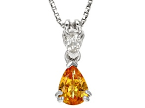 Orange Mandarin Garnet Sterling Silver Pendant with chain .80ctw