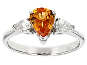 Orange Mandarin Garnet Sterling Silver Ring 1.44ctw
